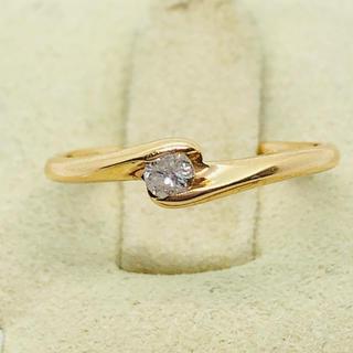 かわいい  K18 1粒 ダイヤモンド リング  D:0.07ct(リング(指輪))