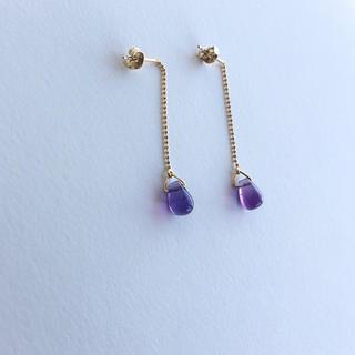 H.P.FRANCE - アメシスト 天然石 揺れる ピアス イエローゴールドカラー アメジスト 紫水晶