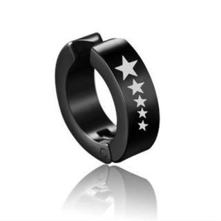 【五つ星✖黒】 韓国 フェイクピアス イヤーカフ イヤリング