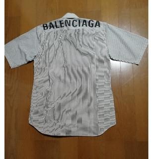 バレンシアガ(Balenciaga)の美品‼️2019 BALENCIAGA バックロゴ BDストライプシャツ黒白37(シャツ)