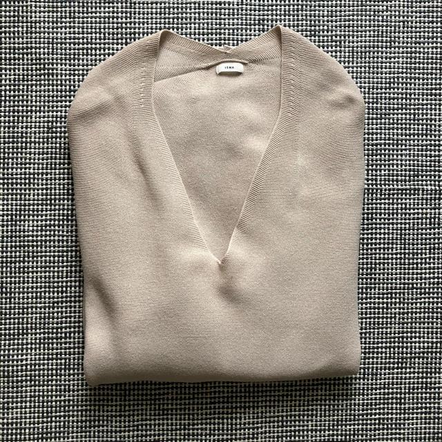 IENA(イエナ)のイエナ コットンストレッチ コクーンVネック袖付きプルオーバー ベージュ レディースのトップス(ニット/セーター)の商品写真