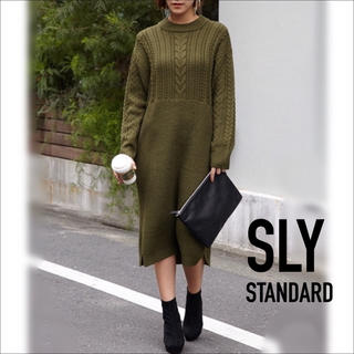 SLY - SLY ケーブル×リブ ミディ ニット ワンピース♡マウジー ローリーズファーム