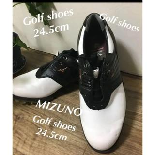 ミズノ(MIZUNO)のMIZUNO ミズノ ゴルフシューズ 24.5cm  ブラック×ホワイト  (シューズ)