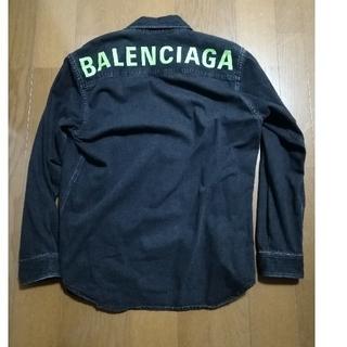 バレンシアガ(Balenciaga)の美品‼️BALENCIAGAブラックデニムシャツ37黒/ネオングリーン(シャツ)
