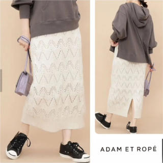 Adam et Rope' - アダムエロペ☆透かし柄網ニットスカート☆ニット☆
