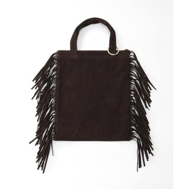 DEUXIEME CLASSE(ドゥーズィエムクラス)の新品タグ付き◆フリンジトート◆ブラウン レディースのバッグ(トートバッグ)の商品写真