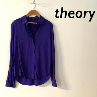 theory - theory ロングスリーブ 比翼 デザイン シャツ ブラウス パープル