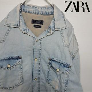 ZARA - ZARA MAN|ザラマン ダメージ ブリーチ加工 デニムシャツ Mサイズ