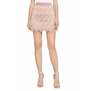 ビーシービージーマックスアズリア(BCBGMAXAZRIA)の❤️BCBG 2020新作 新品 ピンク、黒フリンジスカート 2 色(ミニワンピース)