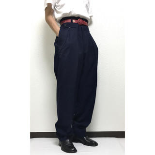 ジョンローレンスサリバン(JOHN LAWRENCE SULLIVAN)の80s VINTAGE Design Tucks Wool-Slacks XL(スラックス)