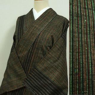 黒と赤茶色の縞 紬(着物)