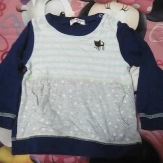 キムラタン(キムラタン)のキムラタンマザーグース90ブルー青紫長袖セータートレーナーネコピンクコットン(Tシャツ/カットソー)