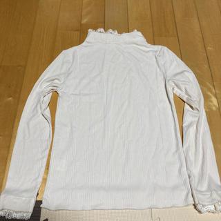 ハコ(haco!)の1枚でも重ねて便利!テレコ素材できれいに着られる襟レース付きカットソートップス(カットソー(長袖/七分))