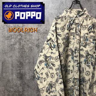 WOOLRICH - ウールリッチ☆USA製フィッシングツール・ルアー柄総柄ネルシャツ 90s
