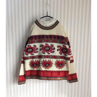 サンタモニカ(Santa Monica)の古着 vintage  used  刺繍 デザインニット レトロ ビンテージ(ニット/セーター)