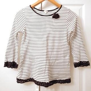 アーヴェヴェ(a.v.v)のavv☆7分袖レース付きボーダーカットソー(Tシャツ/カットソー)
