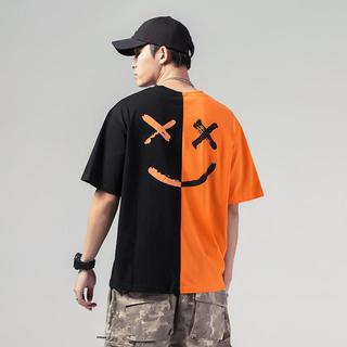 新品☆Tシャツ ニコちゃん スマイル  バイカラー   ツートーン オレンジ黒(Tシャツ(半袖/袖なし))