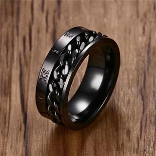 ブラック リング サイズ18(リング(指輪))