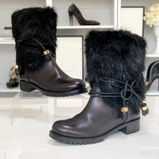 ルイヴィトン(LOUIS VUITTON)の879 美品 ヴィトン レザー フォックスファー エンジニアブーツ 黒(ブーツ)