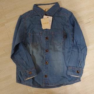 ハッシュアッシュ(HusHush)の新品デニムシャツ110インディゴ青Gジャン長袖シャツ上着ジージャンはおり(その他)