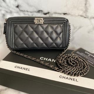 CHANEL - C●HANEL ボー◒イシャネル キャビアスキン チェーンウォレット