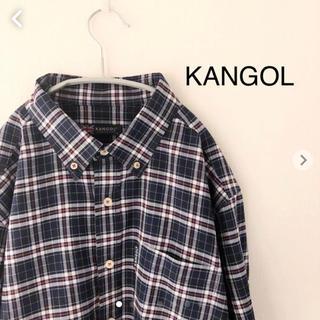 KANGOL - KANGOL 長袖チェックシャツ カンゴール ネイビー
