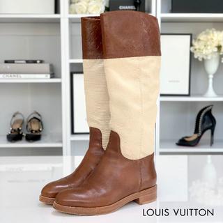 ルイヴィトン(LOUIS VUITTON)の867 ヴィトン チアバスライン レザー×キャンバス ロングブーツ 茶系(ブーツ)