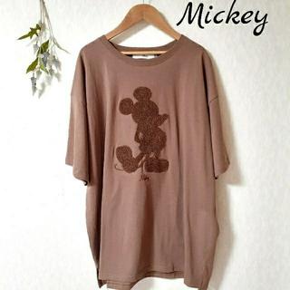 Disney - ミッキーマウス Tシャツ 刺繍 ブラウン レディース メンズ Lサイズ