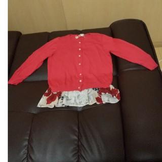 フリフ(ふりふ)のふりふ七分袖カーディガン赤色。(カーディガン)