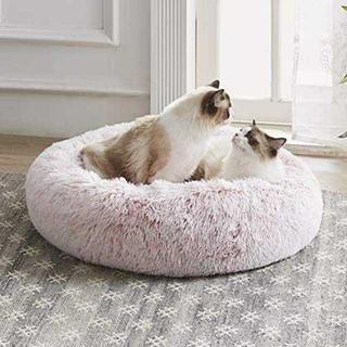 ピンク50cmWestern Home 猫ベッド ふわふわ 洗える ペット用 丸(犬)