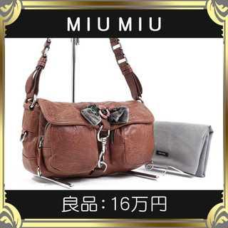 miumiu - 【真贋査定済・送料無料】ミュウミュウのショルダーバッグ・良品・本物・バラ・希少