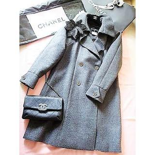 シャネル(CHANEL)の格安セール♪11年★シャネル★ラグジュアリー羊毛コート♪コサージュ・ハンガー(ロングコート)