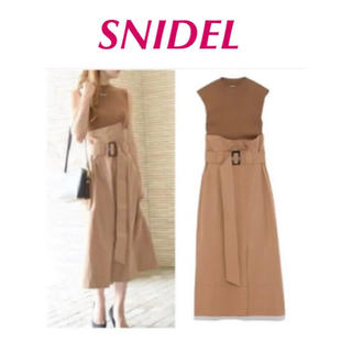 snidel - スナイデル ノースリーブ  ニットドッキングワンピース