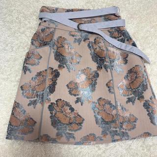 Lily Brown - ジャガードミニ台形スカート ピンク