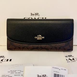 COACH - 【新品】COACH  人気ブラック シグネチャー F54022 二つ折り長財布