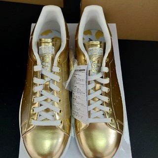 アディダス(adidas)の★ゴールド・新品未使用・替紐+靴袋付★アディダススタンスミス 27.5cm(スニーカー)