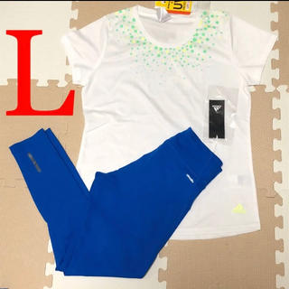 アディダス(adidas)のアディダス Tシャツ インナー下 セット レディース L UV ドット ブルー(トレーニング用品)
