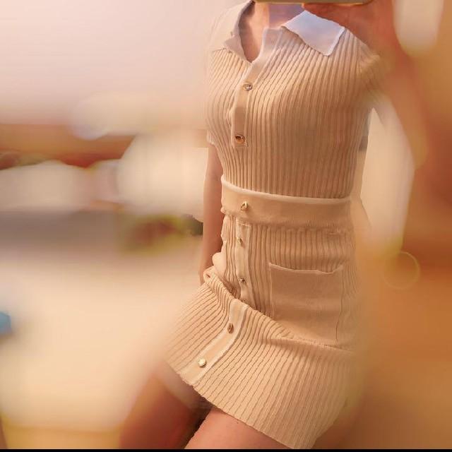 dholic(ディーホリック)のタイムセール!!!韓国ニットセットアップ♡ニットスカート ベージュ フリーサイズ レディースのレディース その他(セット/コーデ)の商品写真