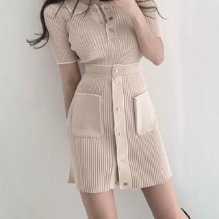 ディーホリック(dholic)の韓国ニットセットアップ♡♡ポロシャツ ニットスカート ベージュ フリーサイズ(セット/コーデ)
