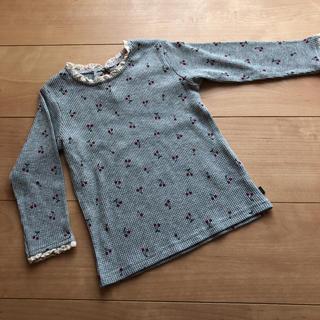 フタフタ(futafuta)の新品未使用 フタフタ  さくらんぼ チェリー ワッフル ロンT 95(Tシャツ/カットソー)