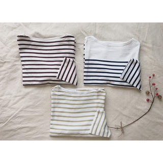 MUJI (無印良品) - 無印良品 太番手天竺編み ボートネック 七分袖 Tシャツ カットソー ボーダー