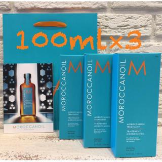 モロッカンオイル(Moroccan oil)の🌐【モロッカンオイル】100ml  3箱  専用袋3枚(オイル/美容液)