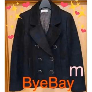 バイバイ(ByeBye)のBye Byeコート ピーコート ブラック バイバイ Mサイズ 美品(ピーコート)