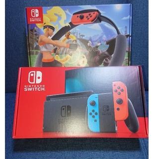 ニンテンドースイッチ(Nintendo Switch)の新品 ニンテンドースイッチ + 新品 リングフィットアドベンチャー(家庭用ゲーム機本体)
