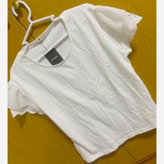 ダブルクローゼット(w closet)のW CLOSET★袖シフォン×刺繍エンボスカットソー.新品(Tシャツ(半袖/袖なし))