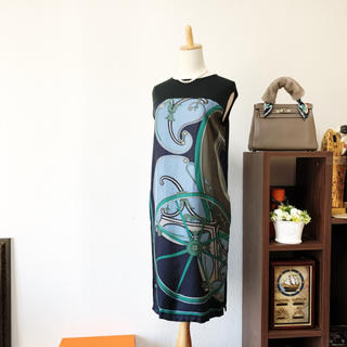 Hermes - 格安品 HERMES エルメス ツイルレーヌ シルク ワンピース  ドレス