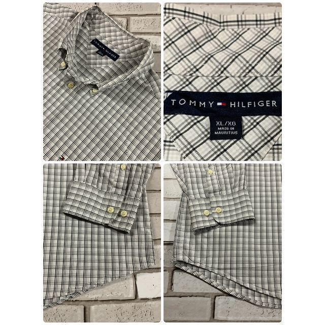 TOMMY HILFIGER(トミーヒルフィガー)の美品 海外古着 トミーヒルフィガー ホワイト&ブラック 長袖チェックシャツ XL メンズのトップス(シャツ)の商品写真