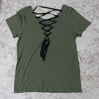 スライ(SLY)の送料無料 サイズF スライ SLY レースアップ Tシャツ カットソー (Tシャツ(半袖/袖なし))