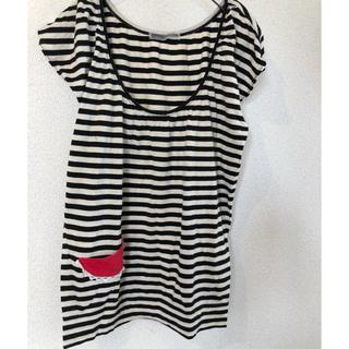 ツモリチサト(TSUMORI CHISATO)のツモリチサト ボーダーTシャツ サイズ2 スイカポッケ(Tシャツ(半袖/袖なし))
