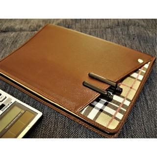 【A5サイズ】Cover pocket手帳カバー■合皮/チェック生地■ブラウン(その他)